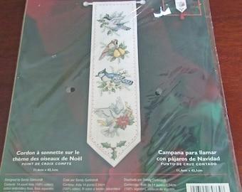 "Plaid Bucilla Counted Cross Stitch Kit 84864 Christmas Birds Bell Pull 4.5 x 17 ""  Sandy Garbrandt Holiday Decor Craft 14 Count Aida"
