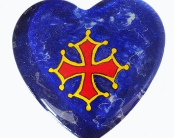 Press paper heart glass - painting on glass - cross of Biscay - camaieu blue background