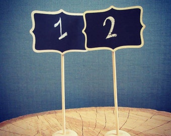 Wavy, Rectangle Chalkboard Wedding Table Number stand (Set of 10), vintage wedding accessories