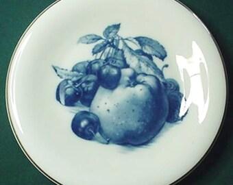 Blue Fruit Design Porcelain Plate, Hutschenreuther Bavaria