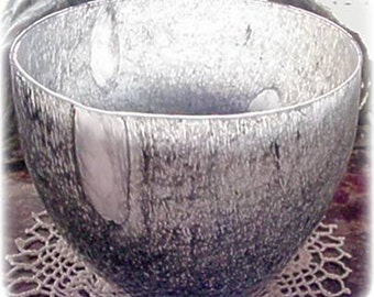 Large Black, Gray, White Decorative Glass Bowl