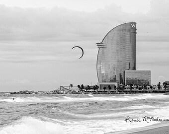 Spain photography, Barcelona photo, Mediterranean coast, windsurfing on the ocean, large wall art, black white photo, game room decor,