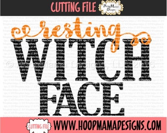Resting Witch Face SVG DXF eps and png Files for Cutting Machines Cameo or Cricut - Adult Halloween