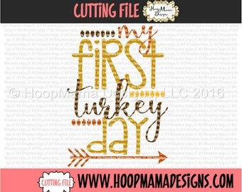 My First Turkey Day SVG DXF eps and png Files for Cutting Machines Cameo or Cricut