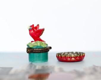 Miniature Red Robin Jewelry Box