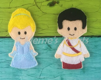 Cinderella & Prince Charming - Set of 2 Finger Puppets Inspired by Cinderella