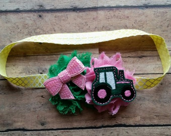 Pink Tractor John Deere Headband Farm girl