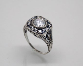 Retro Vintage Sterling Silver 925 White Stone Engagement Ring.