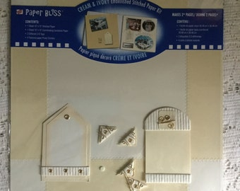 Cream & Ivory Stitched Paper Kit