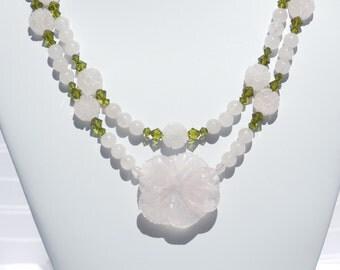 Rose quartz & Swarovski crystal 2-strand necklace