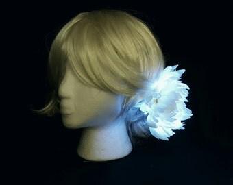 White Large Light Up Hair Flower Clip