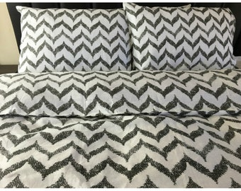 SALE - 30 perct. OFF, Chevron duvet cover, Chevron bedding made from 100% flax linen, Chevron duvet cover, Chevron pillow covers