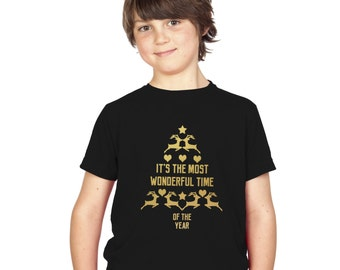 Kids Gold Christmas Tree T-Shirt / It's the most wonderful time of year childrens tee / girls / boys