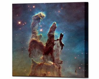 Space Art Pillars of Creation Canvas Wall Art Print Hubble Framed Ready To Hang Decor