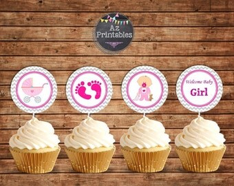 baby girl,baby shower,printable cupcake toppers,instant download,welcome,pink ,chevron