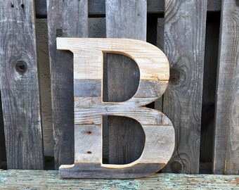 Small Custom Letter Reclaimed Wood Wall Art, Handmade, Rustic and Distressed, Customizable
