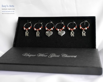 Wine Glass Charms 'Bride' and 'Groom' Copper and white  Glass pearls - Box set of 6