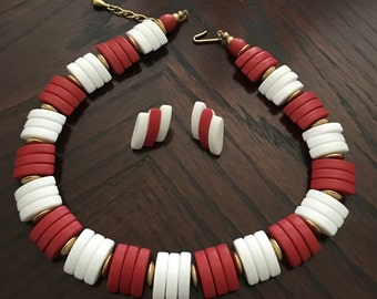 Avon Red and White Necklace and Earrings