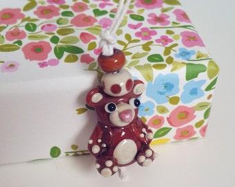 Teddy Bear Lampwork Bead Set - Handmade Glass Bear Beads - Lampwork Glass Bead Set - Teddybear Pendant - Artisan Bear Beads - Polka Dot Bead