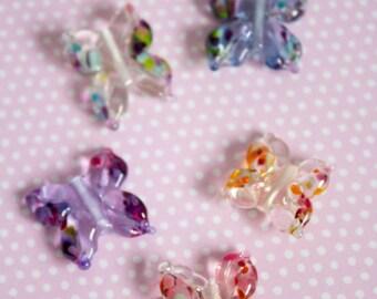 Lampwork Butterflies - Artisan Glass Butterfly Beads - Handmade Beads - Handmade Glass Butterflies - UK Handmade - Artisan