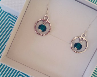 Geometric Silver Hoop Earrings - Sterling Silver Earrings - Handmade Silver Hoop - Lampwork Glass Beads - Gift For Her - UK Artisan Handmade