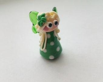 Lampwork Loella Luck Fairy Bead - Artisan Glass Fairy - Handmade Fairy Bead - Lucky Charm - Good Luck Gift - Gift for Her - Artisan Handmade
