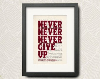 Print From -winston churchill- Quotation (Wall Art Print) On Very Old French Book : -Never Never Never Give Up-... -N-005