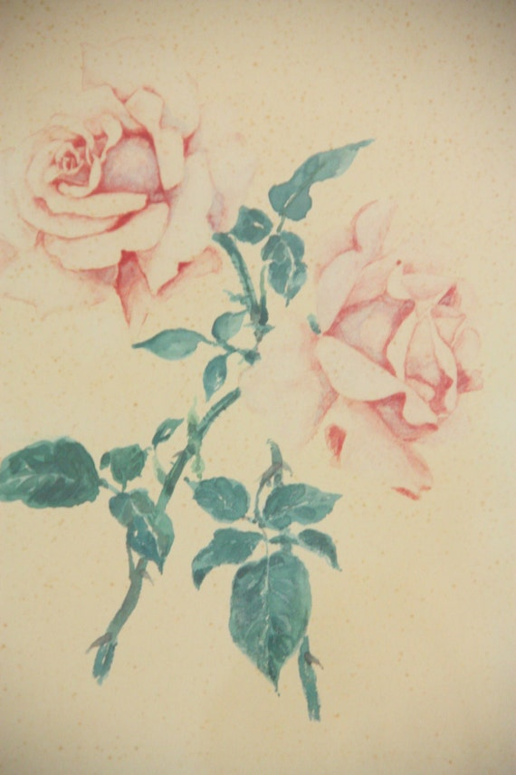 Beautiful Vintage Original Watercolor Painting Under Glass, Pink Roses, Wooden Frame, Passepartout