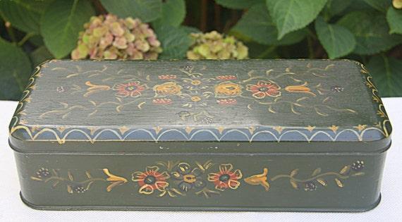 Vintage Dutch 'Hindelooper' Handpanted Tin, Cookie Box, Flower Decor
