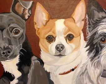 Multiple Pet Portrait, Hand Painted, Dog Portrait, 3 Pets, Pet Painting, From Photograph, Pet Lover Gift, Memorial Portrait