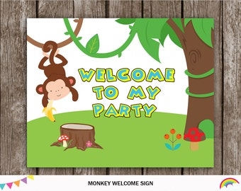 Monkey Welcome Sign, Monkey Party Sign Printable,Party Decoration, Monkey Birthday Party, Backdrop DIY, INSTANT DOWLOAD