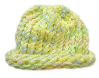 Yellow and Multicolor Baby Hat