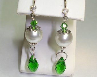 Pearls with Emeral Green Swarovski Crystal Dangle Earrings