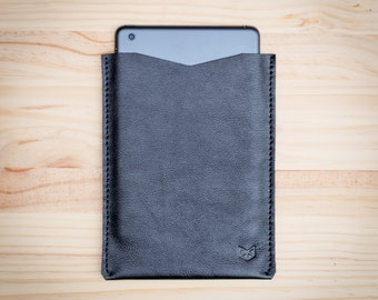 Black iPad Leather Case, iPad Air Sleeve, iPad Cover, iPad Mini 2 4 Sleeve, iPad Pro Leather Sleeve, iPad, Mens Gift, Hand stitched