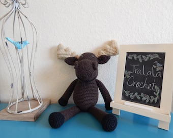 Crochet Brown Moose-Marty the Moose