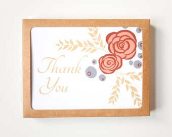 Floral Card Set, Set of 10, Thank You Greeting Cards, Blank Cards, Yellow, Pink and Blue flower card, Roses and blueberries, Blank Card