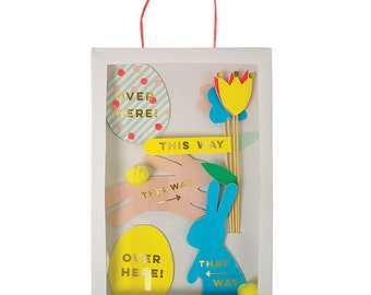 SALE! Meri Meri Easter Egg Hunt Kit- Includes 12 flags in bunny, egg, and flower shapes- Great for Easter parties and Easter egg hunts!