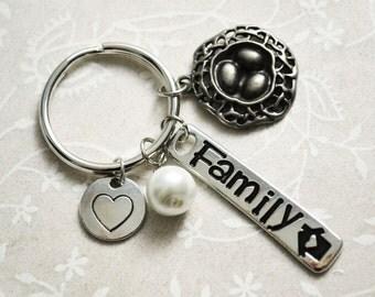 Family Keychain, Birds Nest Keychain, Charm Keychain, Custom Keychain, Personalized Keyring, Home Keychain, Mother Keychain, Pregnancy Gift