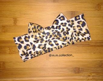 Leopard Turban Bow