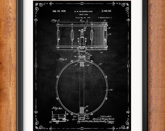 Printable Slingerland Snare Drum Patent Drum Set Drums Decor Decorations Gift Digital Download Wall Art Decor Music Blueprint Clip Art 1037