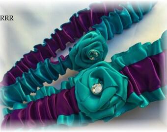 Turquoise and Purple Wedding Bridal Garter Set, Purple Bridal Garter, Turquoise Bridal Garter, Purple Wedding Garter