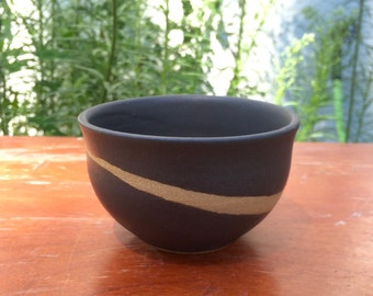 Small Matte Black Bowl with Stripe of Bare Clay