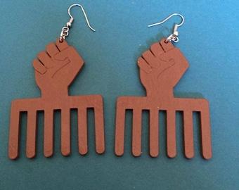 Brown Power Fist Earrings