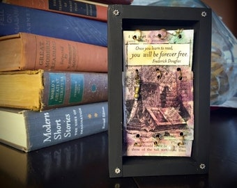 Frederick Douglas Quote Shadowbox, Graduation Gift Shadowbox, Reading Quote Shadowbox