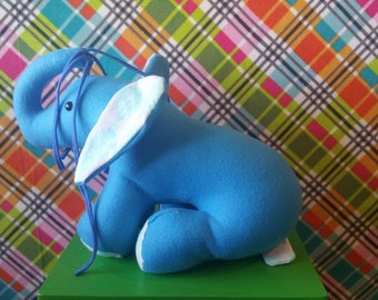 Elephant Stuffed Animal in Blue Fleece