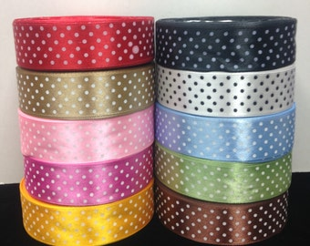 """25 Yards SWISS DOTS 1""""Inch Satin Ribbons 10 Different Colors selling per Roll"""