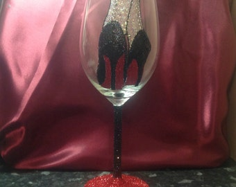 Louboutin inspired high heels in glitter red wine glass