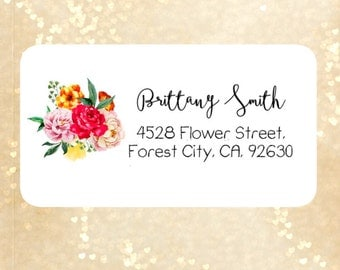 Watercolor return address labels, cute address labels, flowers return address labels, floral address labels, shipping labels , mailing label