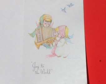 Vintage Christmas Card by Eve Rockwell, Unused Christmas Cherub Angel Card, Parchment Stock Christmas Card
