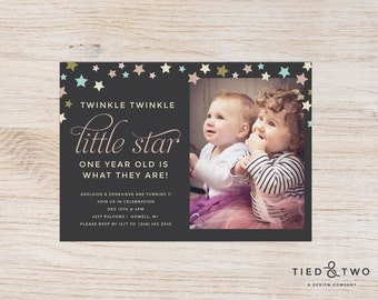 Twinkle Twinkle Little Star Birthday Party Invitation |  Photo Birthday Card, first birthday party, star birthday theme, twin birthday